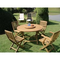 Product photograph showing Henley Fsc Certified Teak 1 2m Dia Table And Folding Chairs Set