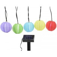 LED Solar Laternen Garten Party Lichterkette mit 10 Lampions Bunt