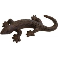 Dekofigur Gecko Eidechse Echse Briefbeschwerer Gusseisen Antik-Stil Braun