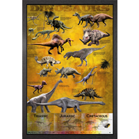 Dinosaurs Chart Framed Maxi Poster - Dinosaurs Gifts