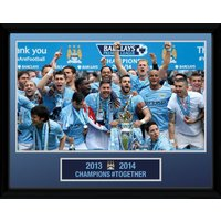 Manchester City Premier League Winners 13/14 Framed Photo Print