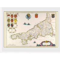 Maps Cornwall Framed Collector Print - Maps Gifts