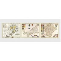 Maps Triptych Framed Collector Print - Maps Gifts