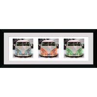 VW Californian Camper Triptych Framed Collector Print