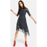 Kleid mit asymmetrischem Saum Blau L