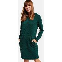 Hoodie-Kleid mit Karo-Struktur Grün XS