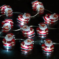 10 Battery Operated Santa String Lights