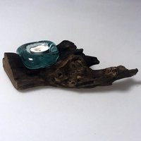 Click to view product details and reviews for Molten Glass On Wood Candle Holder.