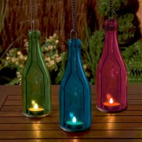 Click to view product details and reviews for Hanging Glass Bottle Tea Light Holder.
