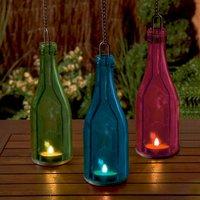 Hanging Glass Bottle Tea Light Holder
