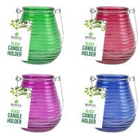 Click to view product details and reviews for 4 X Ribbed Glass Candle Holders.