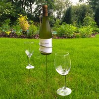 Click to view product details and reviews for Wine Bottle And Glasses Ground Stakes.