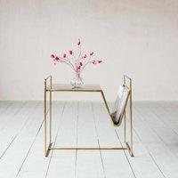 Fletcher Brass Magazine Rack Side Table