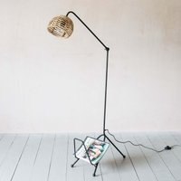 Cane Floor Lamp with Magazine Rack