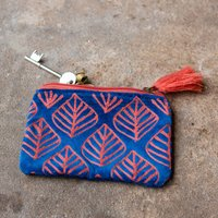 Ava Small Dark Blue and Pink Velvet Pouch