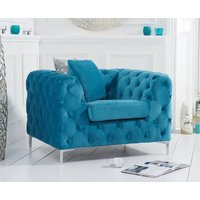 Product photograph showing Ariel Teal Plush Armchair
