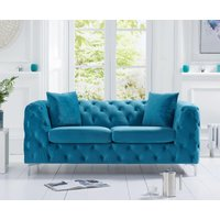 Product photograph showing Ariel Teal Plush 2 Seater Sofa