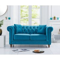 Milano Chesterfield Teal Plush 2 Seater Sofa
