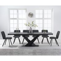 Joshua 180cm Grey Stone Extending Dining Table with Dali Cha