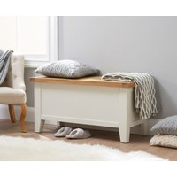 Product photograph showing Ellen Oak And White Blanket Box
