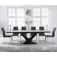 Joshua 180cm White Ceramic Extending Dining Table with Tarin Chairs