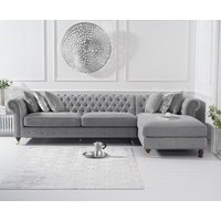 Product photograph showing Fusion Grey Linen Right Facing Chesterfield Chaise Sofa