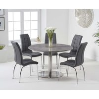Read more about Baha 120cm round grey marble dining table with calgary chairs