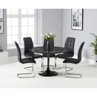 Bryce 120cm Black Round Marble Dining Table with Lorin Chairs