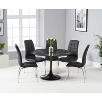 Read more about Bryce 120cm black round marble dining table with calgary chairs