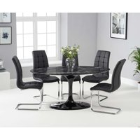 Read more about Bryce 160cm black oval marble dining table with lorin chairs