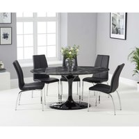 Read more about Bryce 160cm black oval marble dining table with cavello chairs