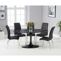 Read more about Bryce 160cm black oval marble dining table with calgary chairs