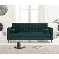 Product photograph showing Ria Green Velvet 3 Seater Sofa