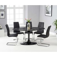 Product photograph showing Bryce 160cm Black Oval Marble Dining Table With Tarin Chairs