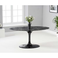 Product photograph showing Bryce 160cm Oval Black Marble Dining Table