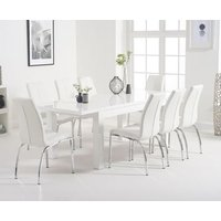 Atlanta 160cm White High Gloss Extending Dining Table with C