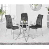Denver 95cm Glass Dining Table with Calgary Velvet Chairs