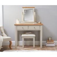 Product photograph showing Addison Oak And Stone Painted Dressing Table