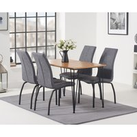 Kalmar 120cm Dining Table with Noir Fabric Dining Chairs