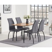 Read more about Kalmar 120cm dining table with noir fabric dining chairs