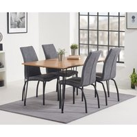 Read more about Kalmar 150cm dining table with noir fabric dining chairs