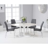 Bryce 160cm White Oval Marble Dining Table with Cavello Chairs