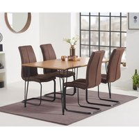 Read more about Kalmar 150cm dining table with liza fabric dining chairs