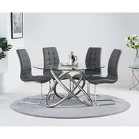 Dalia 135cm Round Glass Dining Table with Lorin Chairs