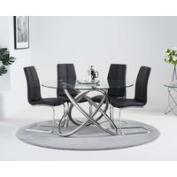 Dalia 135cm Round Glass Dining Table with Tarin Chairs