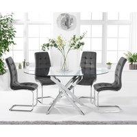 Denver 165cm Oval Glass Dining Table with Lorin Velvet Chair
