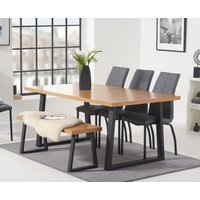 Uma 160cm Dining Table with Noir Fabric Dining Chairs and Uma Benches