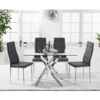 Denver 120cm Rectangular Glass Dining Table with Cassa Chair