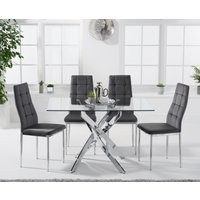 Denver 120cm Rectangular Glass Dining Table with Melissa Cha