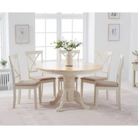 Product photograph showing Epsom 120cm Cream Round Pedestal Table With Epsom Chairs With Cream Fabric Seats